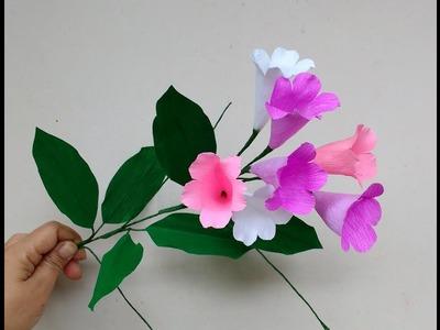 How to make Paper Flowers Garlic Vine. Mansoa alliacea (flower# 211)