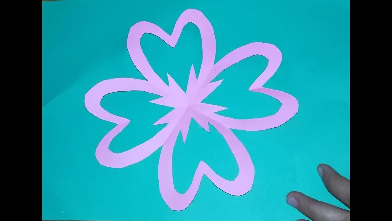 How to make simple and easy paper cuttings flowers by paper and fruits cutting my for Easy paper cutting flowers