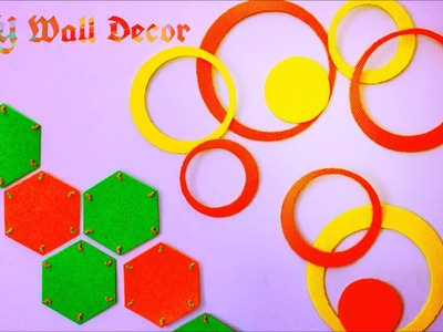 Last minute Room Decor ideas | DIY Felt Honeycomb and Circle Wall Decor ( Super Easy )