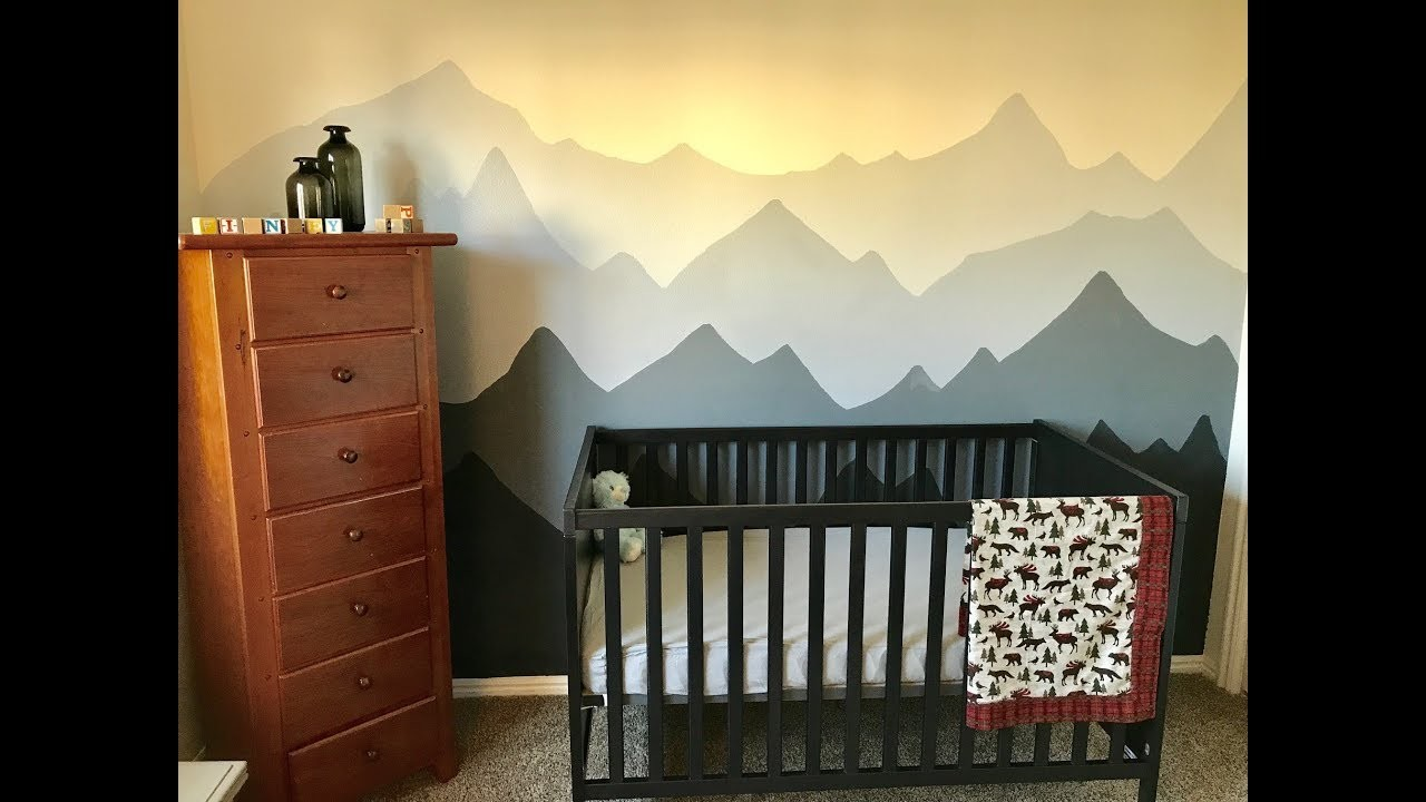Nursery mural time lapse diy mountain mural for baby finn for Diy mountain mural