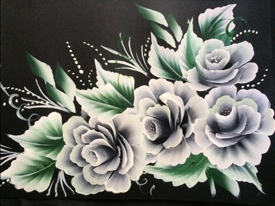 One Stroke White Roses on Black Chart Paper