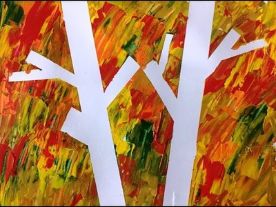 Tape and Paint Art | Painting Fall Tree | Fun for Kids