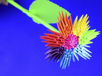 3D origami a Rainbow flower Tutorial Assembly