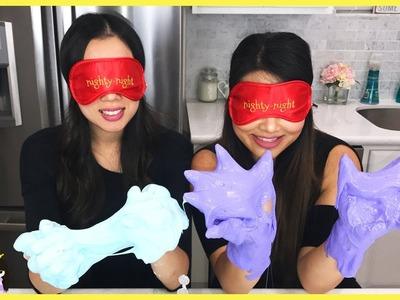 BLINDFOLDED SLIME CHALLENGE! Making Giant Fluffy Slime with my Sister! DIY Family Fun for Kids Prank