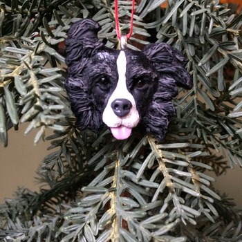 Border Collie ~ Handmade Ornament in Polymer Clay ~ 3D Design