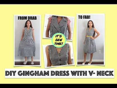 CONVERT AN UGLY DRESS INTO A CUTE V-NECK DRESS,  DRAB TO FAB TRANSFORMATIONS