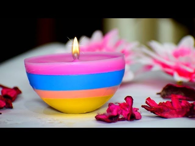 DIY Diwali.Christmas Home Decoration Ideas : How to make Christmas Candles from waste candles?