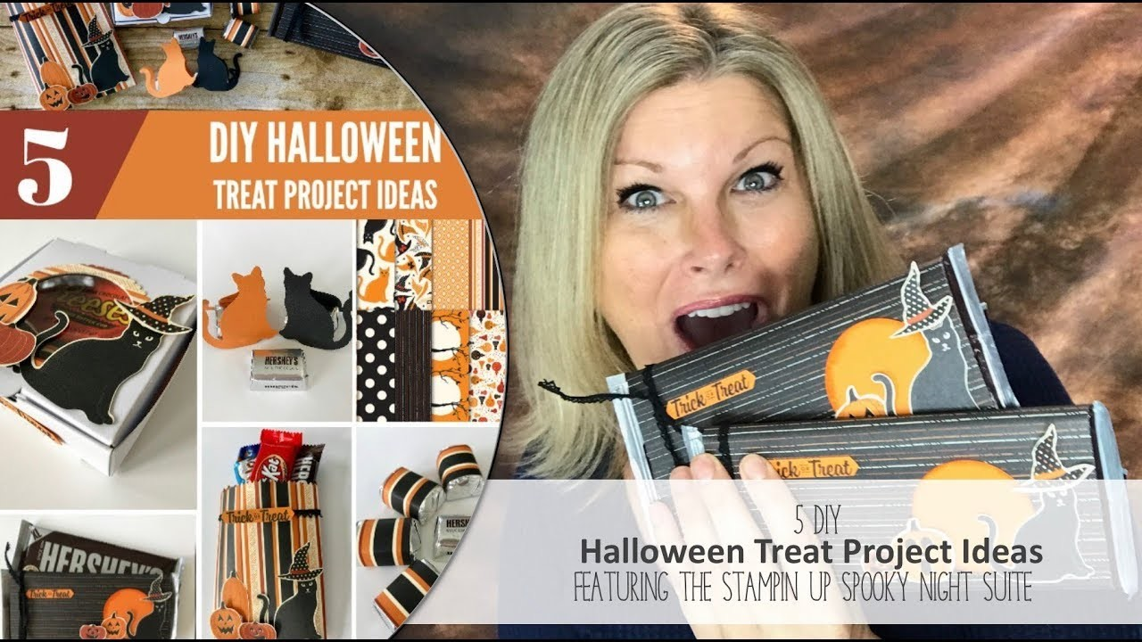 DIY How to make 5 Matching Halloween Candy Treat Projects & Giveaway w.Stampin Up Spooky Night