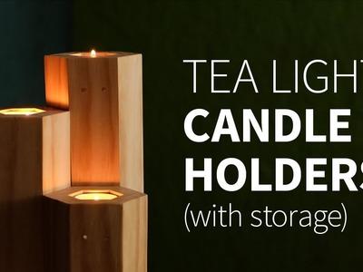 DIY tea light candle holder w. storage