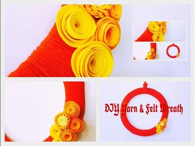 DIY-Yarn & Felt Wreath Wall Decor from Cardboard ( Cheap Craft Ideas ) Best Out Of Waste