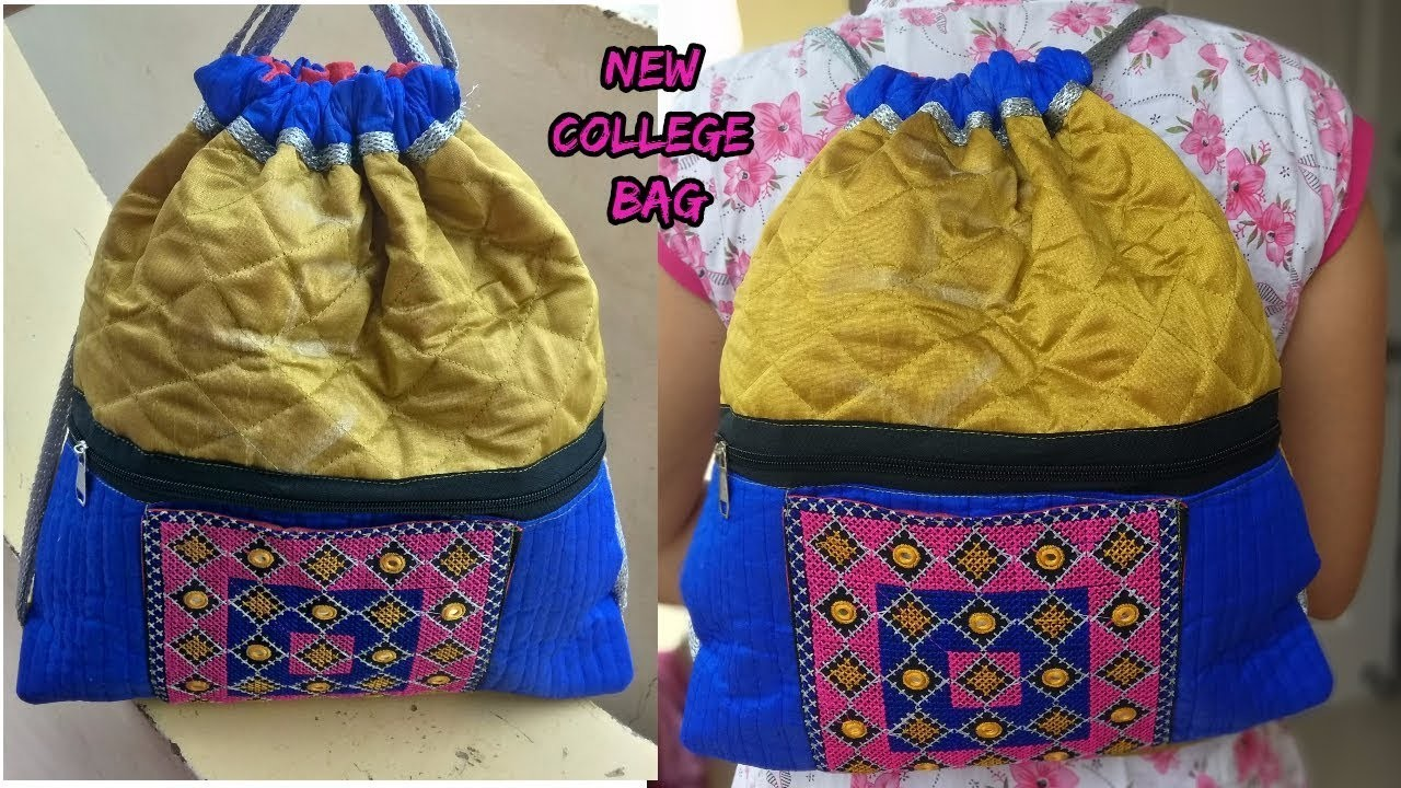 Fancy college bag make at home.cutting and sewing.how to make college bag diy.