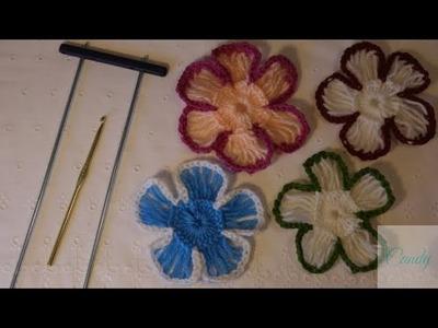 Flores con horquilla y ganchillo.hairpin lace flower.