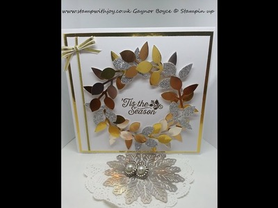 Gorgeous Wreath Christmas card using the leaf punch stampin up