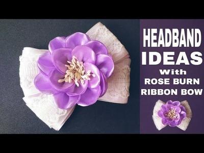Headband Ideas With Rose Burn Flowers And Ribbon Bow | DIY by Elysia Handmade