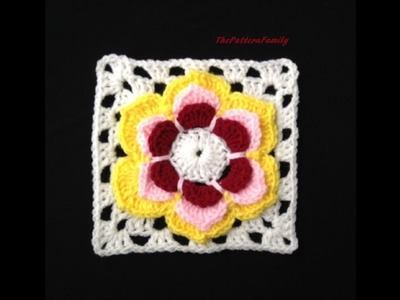 How to Crochet a Flower Granny Square Pattern #33│by ThePatternfamily