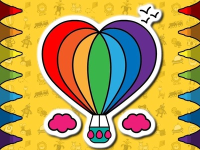 How to Draw Hot Air BALLOON | Drawing, Coloring Pages and Animation | Rainbow colors for Kids