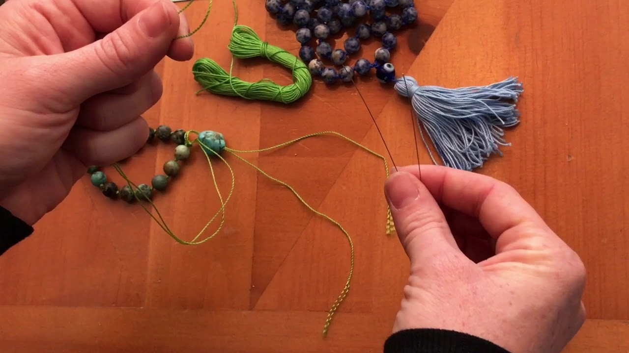 How to finish your mala after tying knots - Guru bead and Tassel