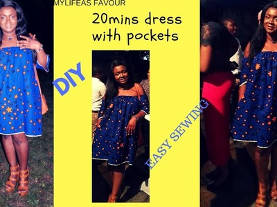 HOW TO MAKE A DRESS with POCKETS  IN 20mins.DIY EASY SEWING. SUMMER DRESS