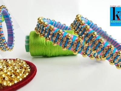 How to make Designer Fancy Silk Thread Bangles. silk thread bead bangles tutorials. diy