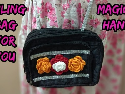 How to make side bag.Kipling bag at home.cutting and sewing step by step Hindi tutorial.