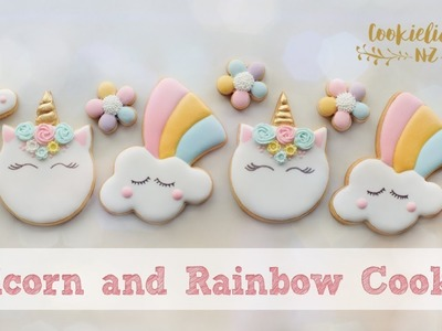 How to make UNICORN HEAD & CUTE RAINBOW COOKIES - Step by Step tutorial