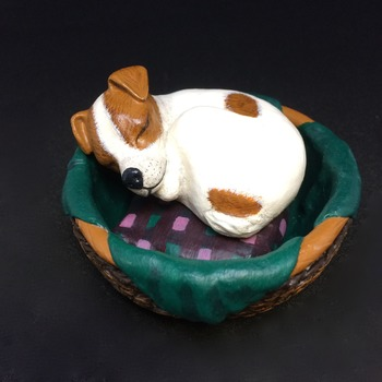 Jack Russell puppy 'sleeping in his basket' ornament ~ Handmade/Hand Painted