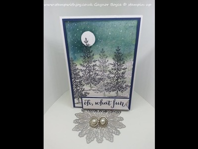 Lovely as a tree night Christmas card stampin up