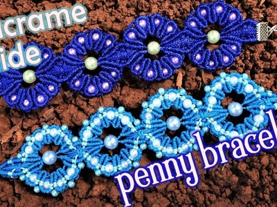 Macrame guide: The penny bracelet with bead, step by step tutorial by Tita