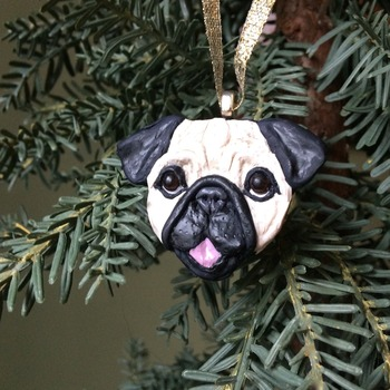Pug puppy ~ Handmade Polymer Clay Ornament