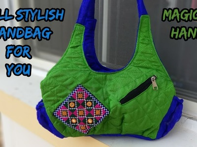 Small handbag make at home.cutting and sewing.how to make handbag.