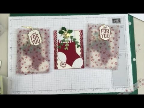 Stampin Up Fun Fold Christmas Stocking Gift Card Holder and Card, With Trim Your Stockings