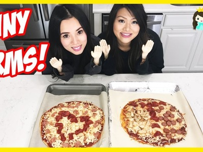 TINY HANDS CHALLENGE! Try Funny Kid Challenge DIY Giant Pizza Family Fun Prank Pretend Play for Kids