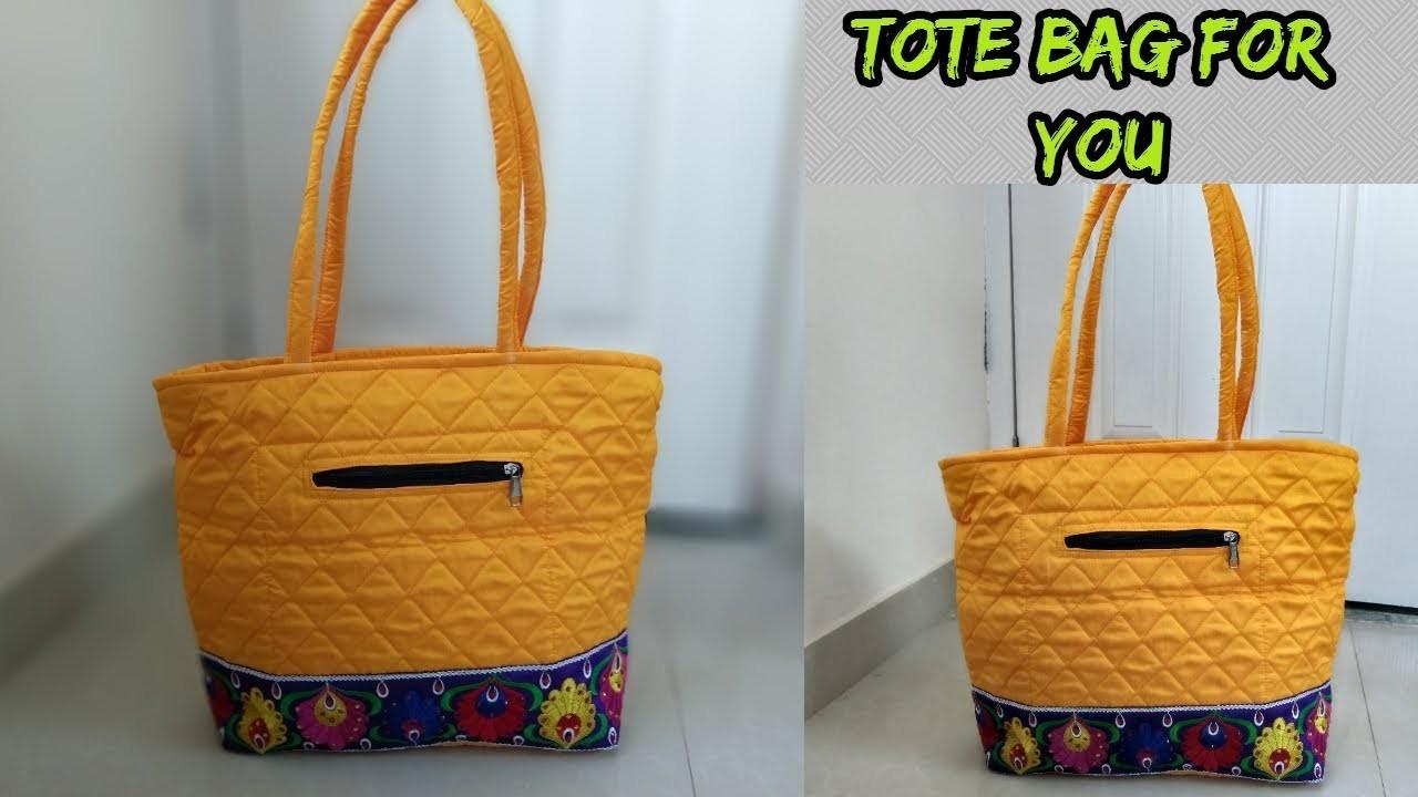Tote bag make at home.cutting and sewing.how to make tote bag at home.