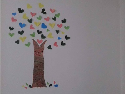 Tree wall art with love shaped paper cuts | DIY | Paper crafts