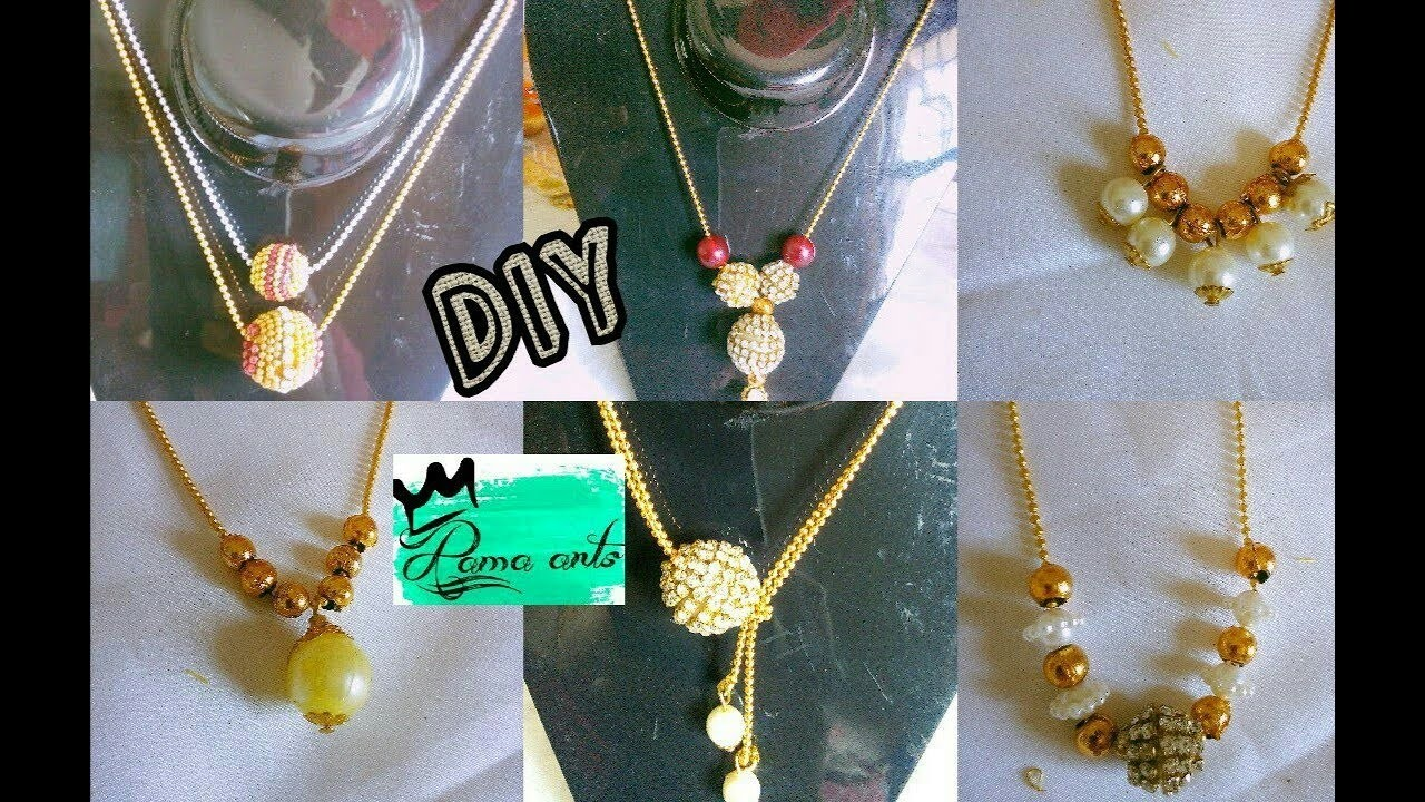 6 DIY ideas for simple necklace | Making with ball chain | jewellery tutorials