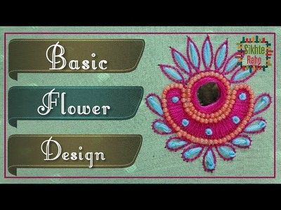 Basic flower design Thread and Beads stitch | hand embroidery | Zari Work