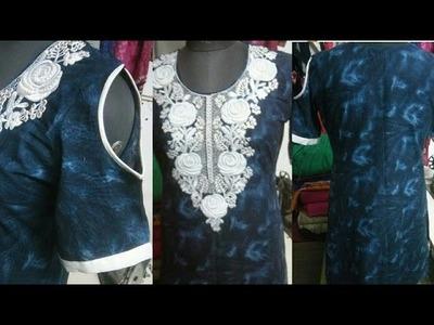 COLD SHOULDER  DRESS (DIY)  |  CUT OUT SHOULDER KURTIS cutting and stitching