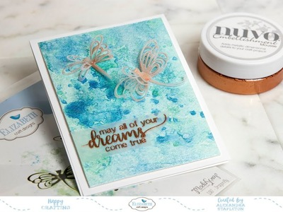 Dancing Vellum Dragonflies, Metallic Watercolor Background & Heart Embossing Handmade Card Tutorial