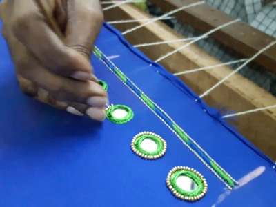 Decorating a MIRROR with golden Beads HD video - hand embroidery