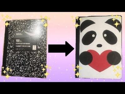 Diy back to school cute panda notebook cover????