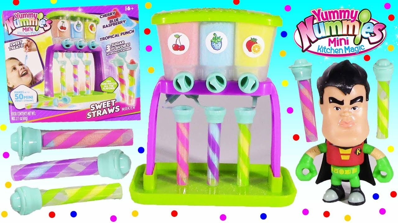 DIY CANDY! Yummy Nummies Kitchen Magic Sweet Straw MAKER! 3 SOUR Sugar Flavors! Teen Titans GO!
