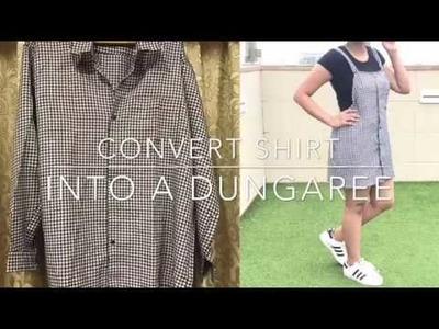 DIY: Convert Men's Shirt into a dungaree|15 mins diy|#beyourowndesigner|