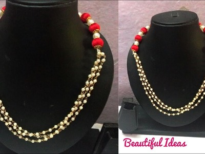 DIY.How to Make Silk thread Designer Necklace.Pearl Designer Necklace.Silk thread Designer pearl set