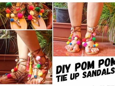 DIY Lace Up Pom Pom Flats.Sandals | Turn Your Basic Flats into Bohemian Pom Pom Flats | Sugar Crayon
