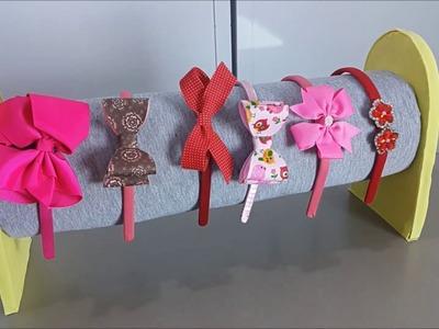 DIY porta tiaras com base ideal para feiras de artesanato
