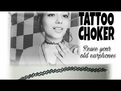 DIY Tattoo Choker || How to make Tattoo Choker ||Using ear phones|| Jahnvi Batra