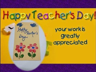 DIY Teacher's Day Card. Thumb Painting Card.Teacher's Day Card making ideas (Type 3)