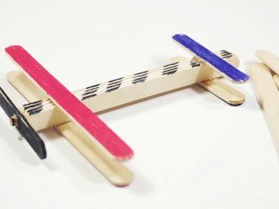 Easy Popstick Airplane Kids Craft Ideas by CraftiKids