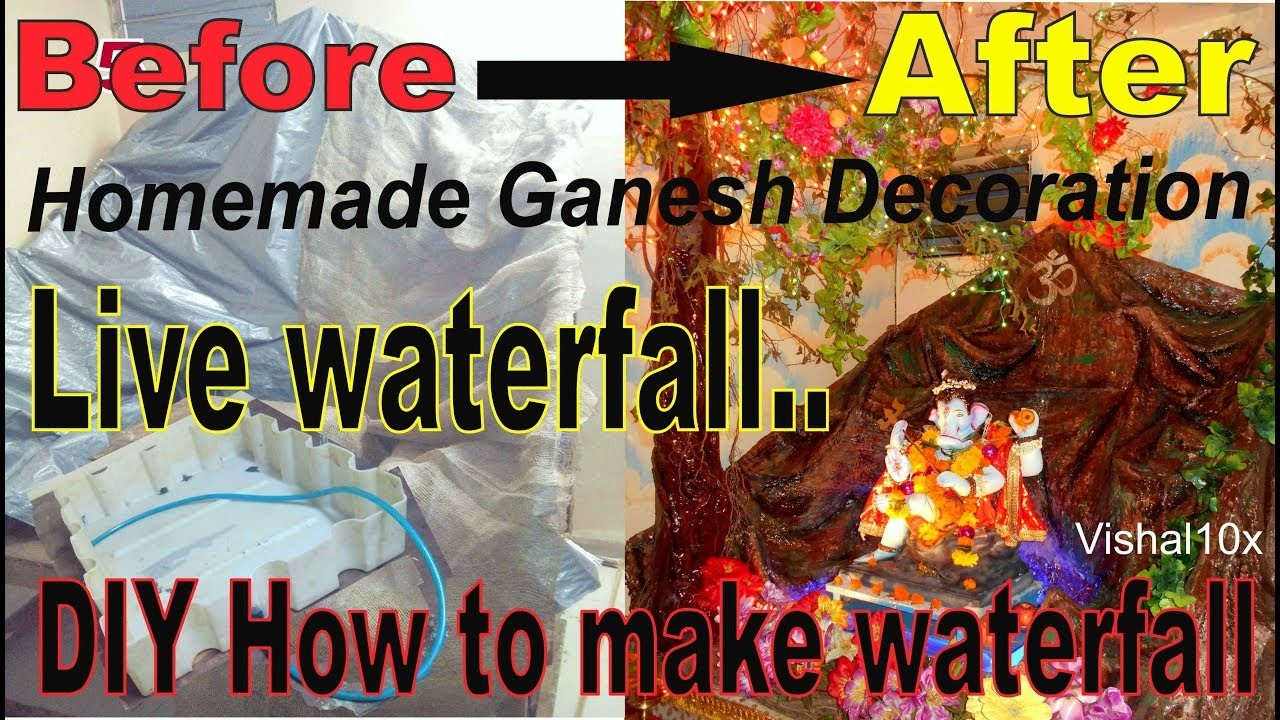 Ganpati Decoration Ideas At Home Waterfall DIY [ Best Waterfall Working  Model ]