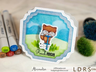 Handmade Cardmaking Tutorial: Interactive Wobbling Pogo Fox with Copics and LDRS Stamps &  dies